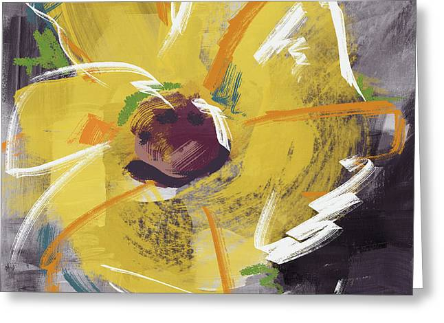 Expressionist Sunflower- Art By Linda Woods Greeting Card