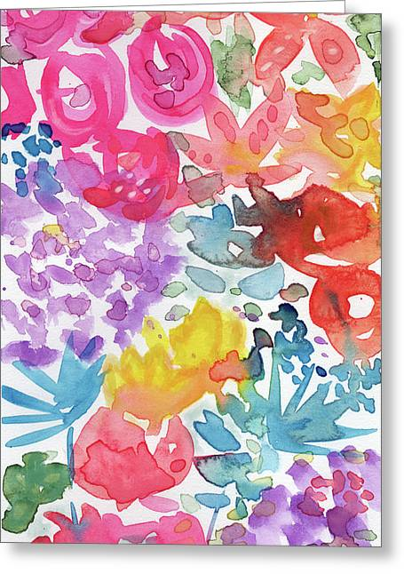 Expressionist Watercolor Garden- Art By Linda Woods Greeting Card