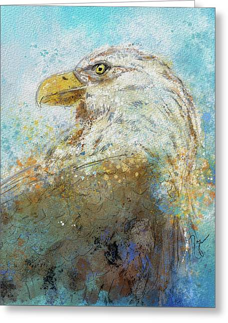 Expressive Bald Eagle Greeting Card by Jai Johnson