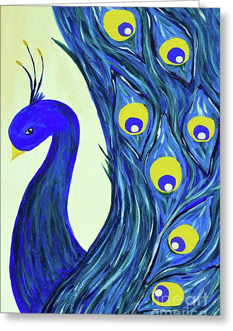 Greeting Card featuring the painting Expressive Brilliant Peacock B71117 by Mas Art Studio