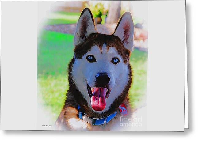 Greeting Card featuring the digital art Expressive Siberian Husky  A62117d by Mas Art Studio