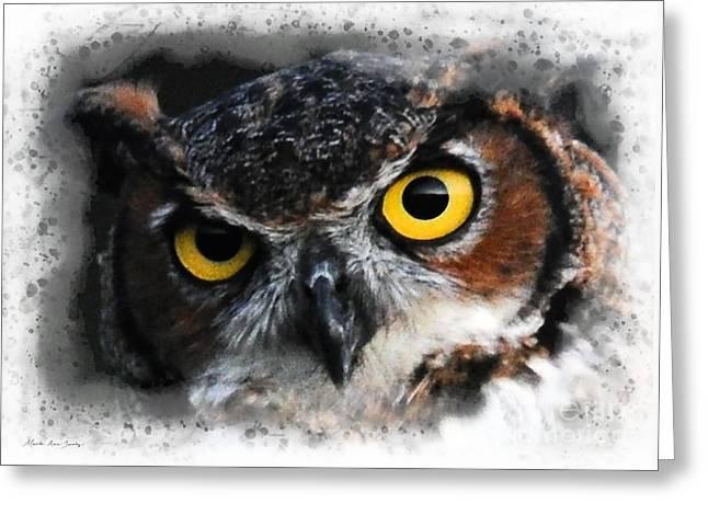 Greeting Card featuring the digital art Expressive Owl Digital A2122216 by Mas Art Studio