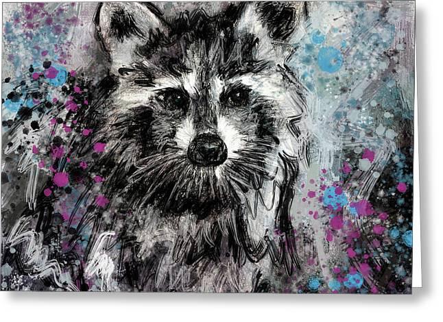 Expressive Raccoon Greeting Card
