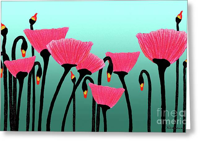 Expressive Red Pink Green Poppy Painting Y1a Greeting Card