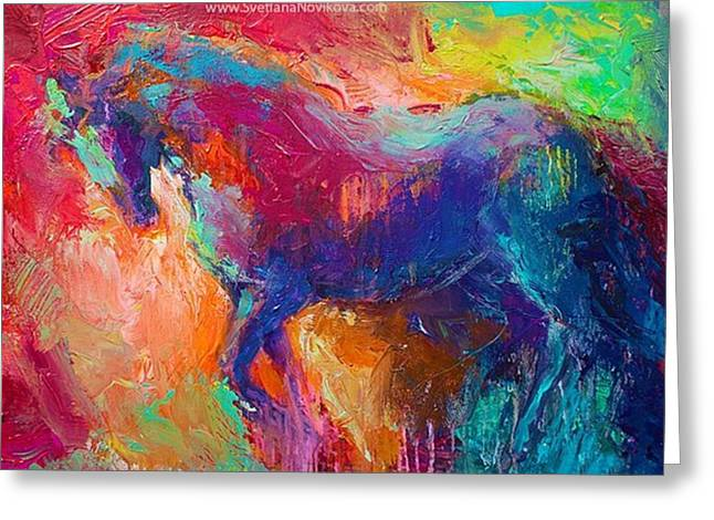 Expressive Stallion Painting By Greeting Card