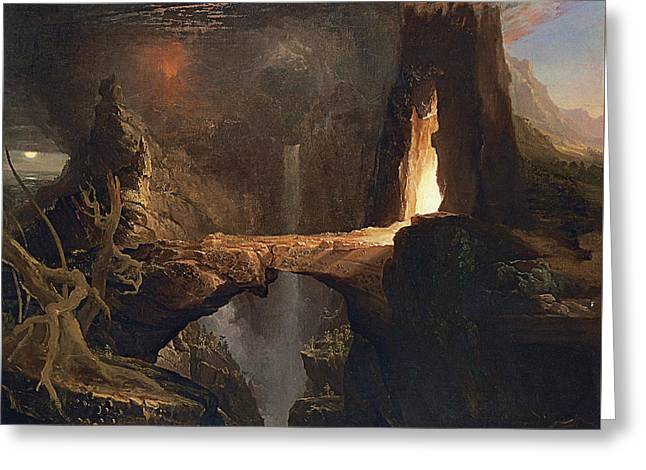 Expulsion Moon And Firelight Greeting Card by Thomas Cole