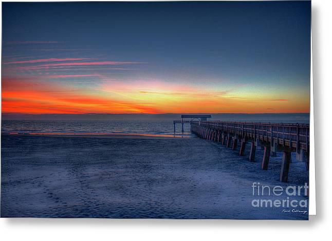 Exquisite Dawn Tybee Island Pier Sunrise Art Greeting Card by Reid Callaway