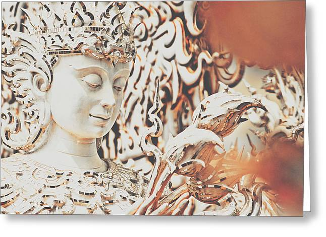 Exquisite Design Detail Of A Meditative Deity-like Statue Carved Inside The White Temple In Thailand Greeting Card