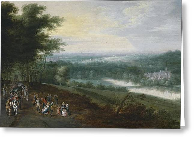 Extensive River Landscape With Travelers And Dancing Peasants On A Path Greeting Card