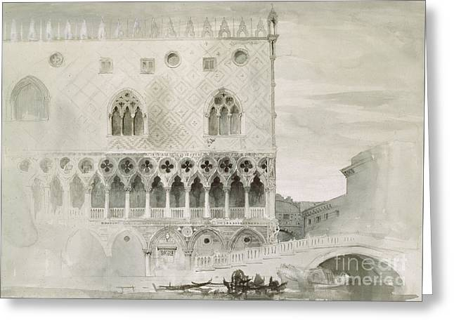 Exterior Of Ducal Palace, Venice, 19th Century Greeting Card by John Ruskin