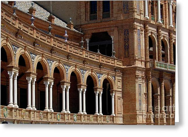 Exterior View Of The Plaza De Espana In Seville Greeting Card by Sami Sarkis