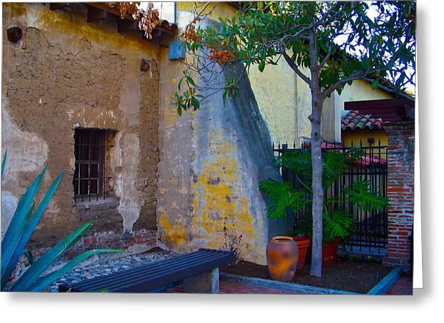 Exterior Wall Of Serra Chapel Mission San Juan Capistrano California Greeting Card by Karon Melillo DeVega