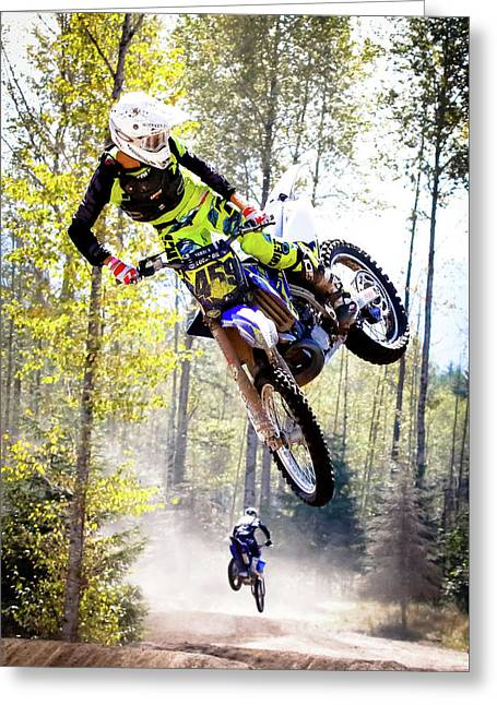 Extreme Motocross Greeting Card by Athena Mckinzie
