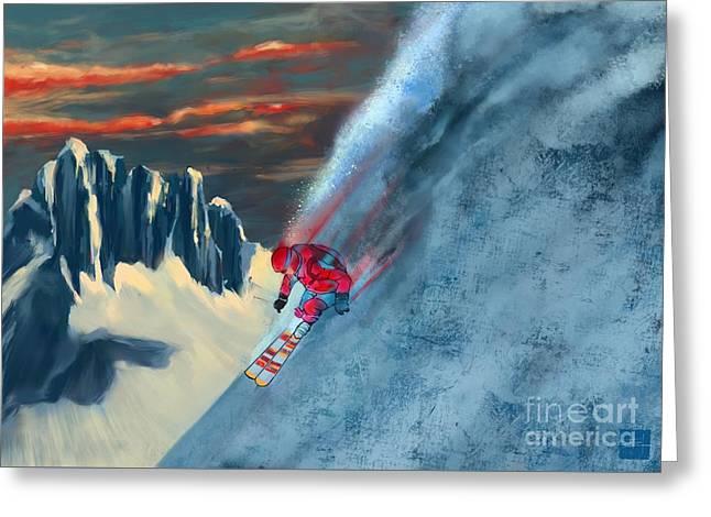 Extreme Ski Painting  Greeting Card