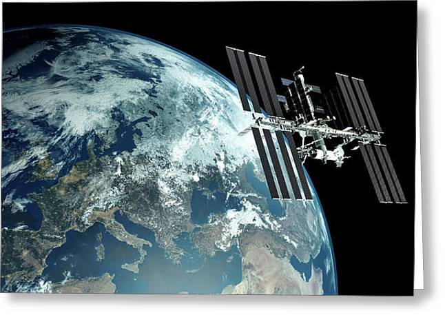 Extremely Detailed View Of Iss - International Space Station Orbiting Earth Greeting Card by Sasa Kadrijevic