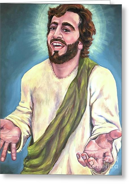 Exulted-laughing Jesus  Greeting Card