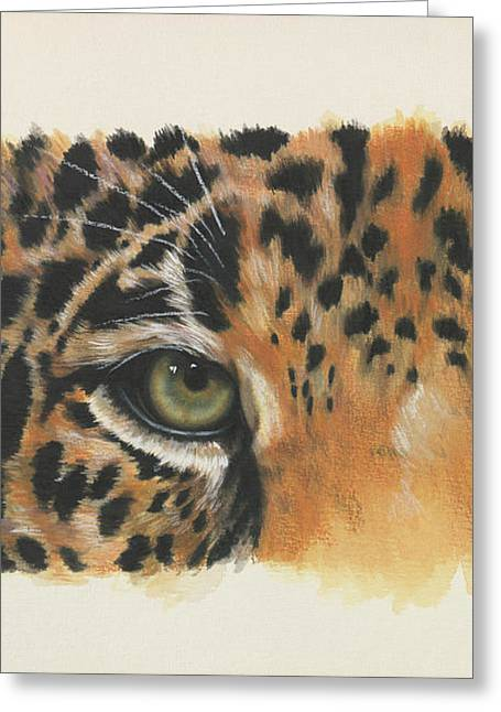 Greeting Card featuring the painting Eye-catching Jaguar by Barbara Keith
