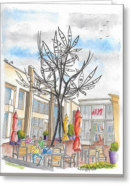 Eye Flower, Sculpture By James Surls In Sunset Plaza, West Hollywood, California  Greeting Card by Carlos G Groppa