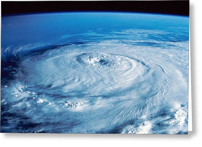 Satellite View Greeting Cards - Eye Of The Hurricane Greeting Card by Stocktrek Images
