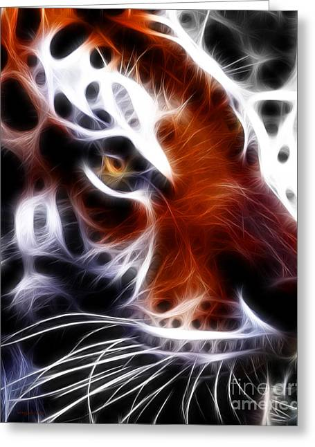 Eye Of The Tiger 2 Greeting Card by Wingsdomain Art and Photography