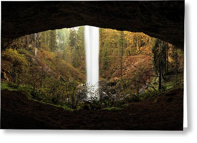 Eye Of The Waterfall Silver Falls Oregon Greeting Card by Jarred Decker