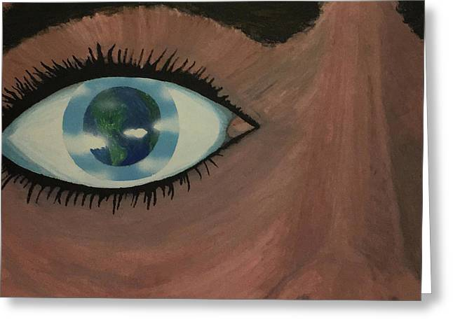 Greeting Card featuring the painting Eye Of The World by Thomas Blood