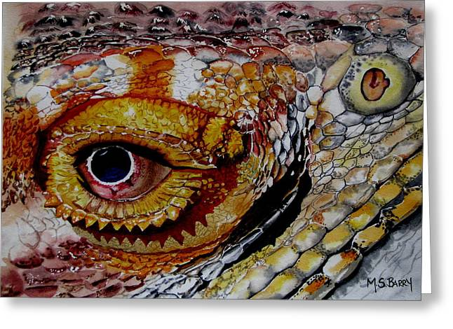 Eye On The Matter Greeting Card by Maria Barry