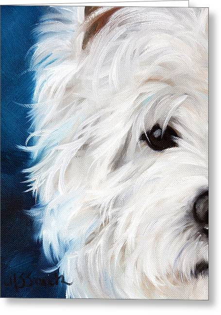 Westie Art Greeting Cards - Eye See You Greeting Card by Mary Sparrow