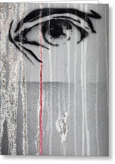 Eye With Rivers Of Acid. Greeting Card by Germano Poli