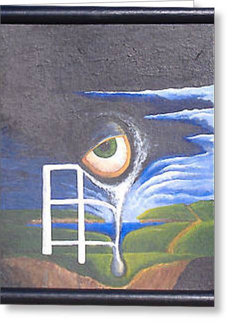 Greeting Card featuring the painting Eyefence by Steve  Hester