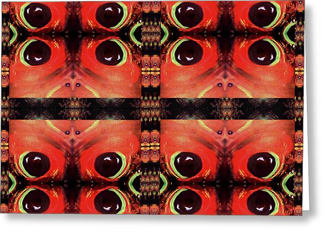 Greeting Card featuring the painting Eyes 8 Four Square by Michelle Audas