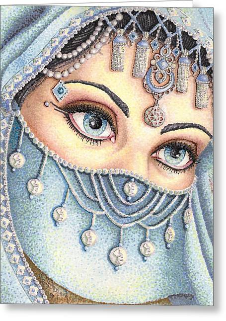Stipple Drawings Greeting Cards - Eyes Like Water Greeting Card by Scarlett Royal