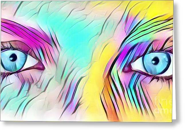Eyes Of A Goddess - Quenn Of Rainbows  Greeting Card