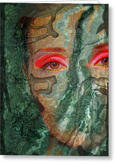 Eyes Of Emerald Greeting Card by Tim Thomas