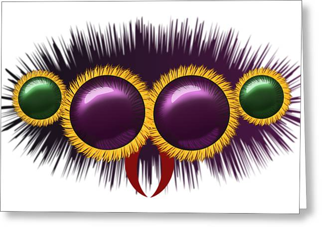 Eyes Of The Huge Hairy Spider Greeting Card by Michal Boubin