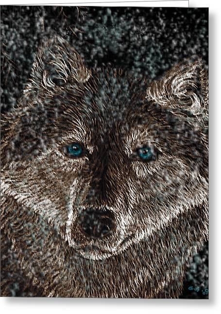 Eyes Of The Snow Wolf Greeting Card