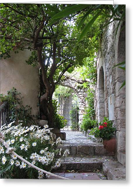Provence Village Greeting Cards - Eze Passageway Greeting Card by Carla Parris