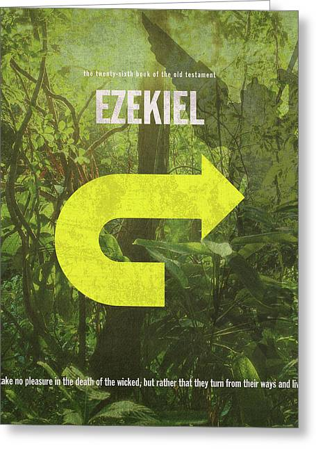 Ezekiel Books Of The Bible Series Old Testament Minimal Poster Art Number 26 Greeting Card by Design Turnpike