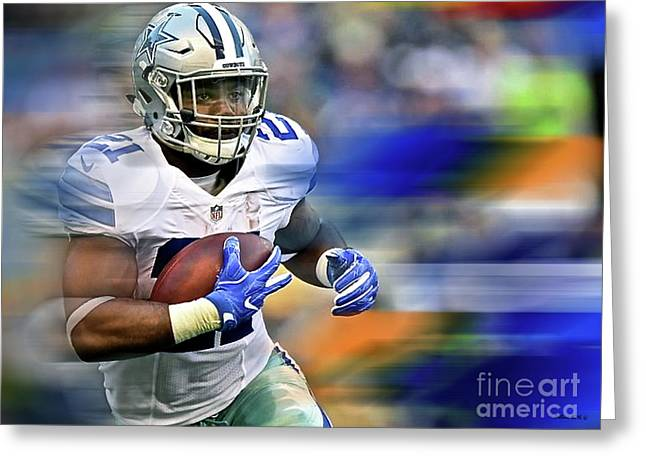 Ezekiel Elliot, Number 21, Running Back, Dallas Cowboys Greeting Card by Thomas Pollart