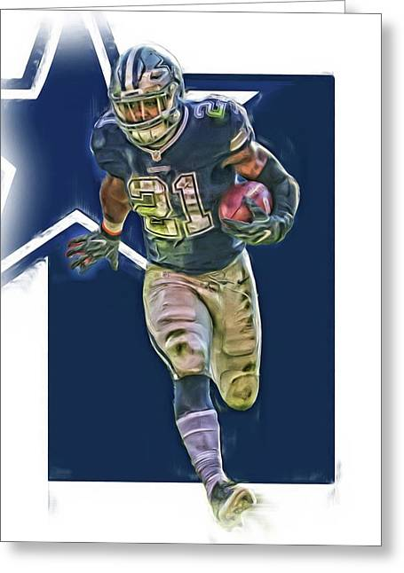 Ezekiel Elliott Dallas Cowboys Oil Art Series 1 Greeting Card