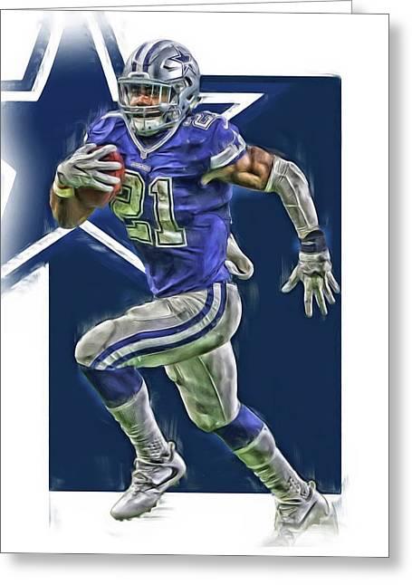Ezekiel Elliott Dallas Cowboys Oil Art Series 2 Greeting Card