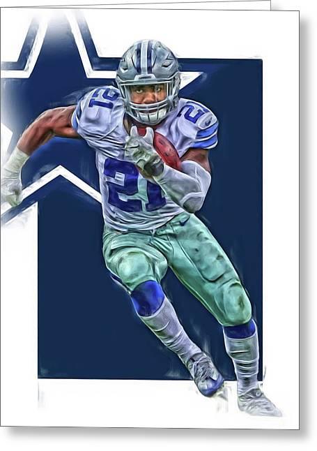 Ezekiel Elliott Dallas Cowboys Oil Art Series 3 Greeting Card by Joe Hamilton
