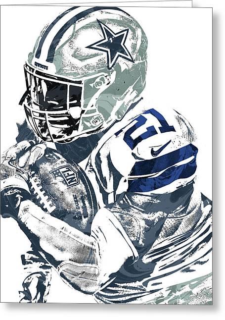 Greeting Card featuring the mixed media Ezekiel Elliott Dallas Cowboys Pixel Art 5 by Joe Hamilton