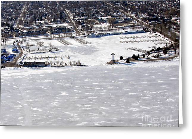 F-002 Fond Du Lac Wisconsin Harbor Winter Greeting Card by Bill Lang