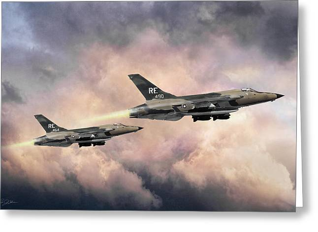 Greeting Card featuring the digital art F-105 Thunderchief by Peter Chilelli