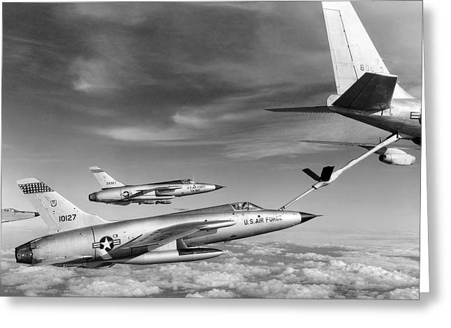 F-105s Refueling In The Air Greeting Card by Underwood Archives