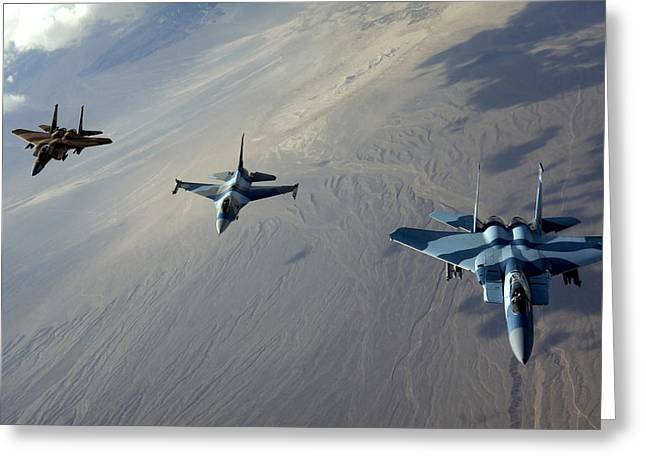 Aggressor Greeting Cards - F-15 Eagles And A F-16 Fighting Falcon Greeting Card by Stocktrek Images