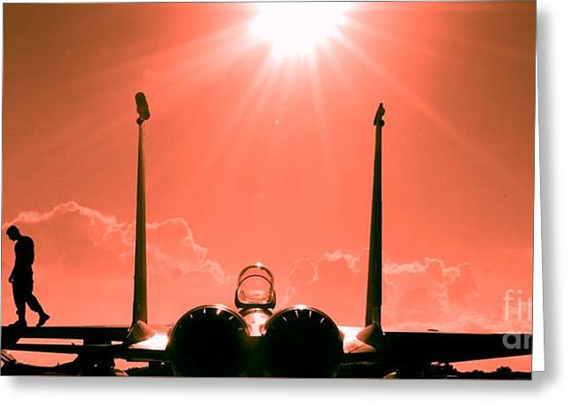 F-15-fighter-jet-381746 Greeting Card by Celestial Images