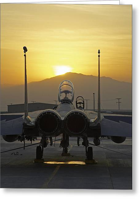 F-15e At Sunrise Greeting Card by Tim Grams