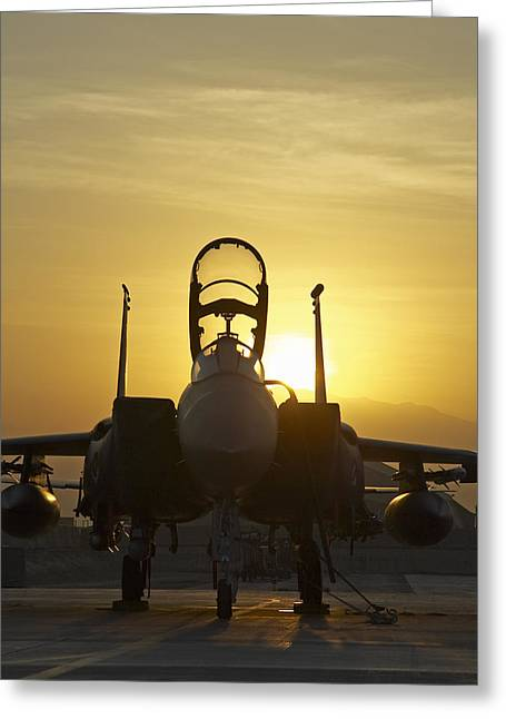 F-15e Sunrise Portrait Greeting Card by Tim Grams